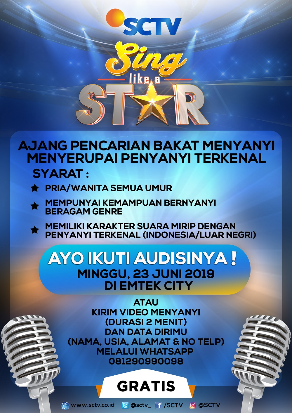 Poster Audisi Sing Like A Star